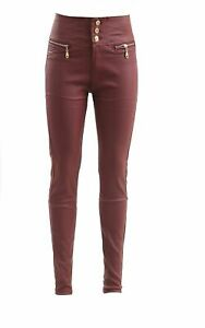 Stylish Women,s Leather Look Slim Fit Skinny 3 Button Zip Jeans Ladies