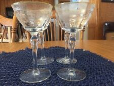 4 Vintage Sheer Delicate Etched Wine Clear Glass Stemware Edged In Yellow-Gold