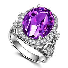Fashion Women Oval Cut Amethyst 925 Silver New Ring Size 9