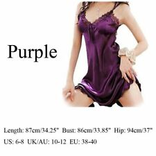 Women Sexy Satin Silk Nightgown Chemise Lace Robe Sleepwear Dress Pop Clothing