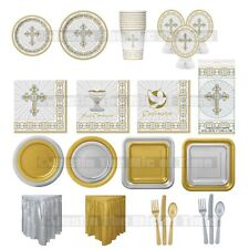 Christening First Communion Holy Cross SILVER Girls Boy Party Tableware Supplies  sc 1 st  eBay & Christening Party Tableware | eBay
