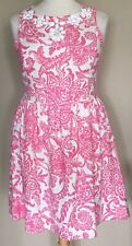 NWT New Directions Linen Blend Sleeveless Fit Flare Dress Pink White Floral 18