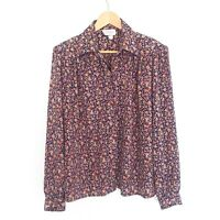Katies Vintage Womens Size 14 Floral Print Long Sleeve Button Blouse