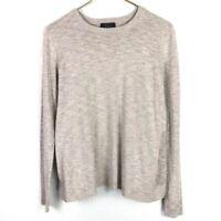 Leo & Sage Split Back Sweater Light Soft Tan Long Sleeve Knit Top Size S