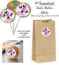 40 Minnie Mouse STICKERS for Lollipops, goody bag, birthday party favors Labels