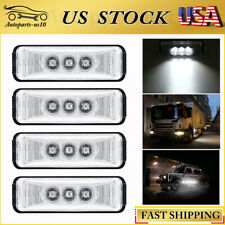 "4x Sealed 3.9"" Side Marker Light White 3LED Truck Traile Bus RV Indicator Lights"