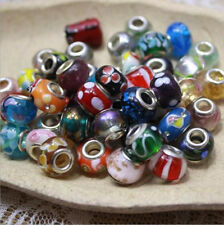 10p Mixed SILVER MURANO GLASS BEAD LAMPWORK Fit European Charm Bracelet 2.5g/pcs