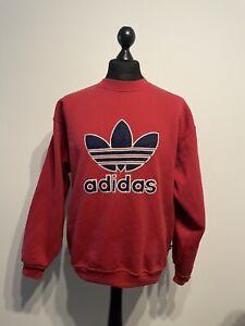 Vintage Retro 90s Red Large Adidas Sweatshirt Jumper D5 F174 Size: Medium