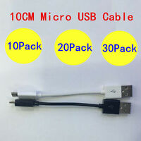 Short Micro USB Cable Adapters Chager Charging Sync Cord - 10CM - 10/20/30X