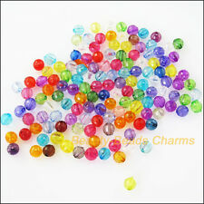 80Pcs Mixed Plastic Acrylic Clear Faceted Round Ball Charms Spacer Beads 8mm