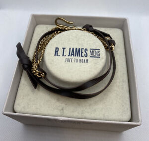NEW R.T. James Mens Hook Leather Wrap Bracelet Brown FREE Shipping