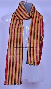 Indien Vintage Kantha Écharpe Coton Dupatta Cou Drapé Handquilted Voile Bohémien