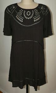 Women's NWT AVEC LES FILLES Size Large Black BoHo Cut-outs S/S Rayon Dress Tunic