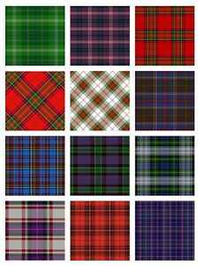 ASSORTED TARTAN SQUARES - CARD TOPPERS - PRINTED A4 PAPERS/CARD - CRAFTING