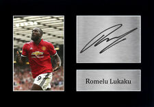 More details for gifts for manchester utd fans romelu lukaku signed a4 framed printed autograph