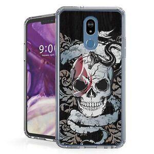 For LG Stylo 5 Hybrid  Bumper Shockproof Case Gray Skull head
