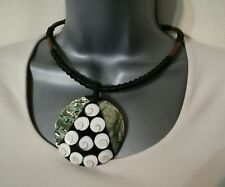 NECKLACE MOTHER OF PEARL PENDANT ETHNIC TRIBAL STATEMENT CHUNKY CHOKER RARE