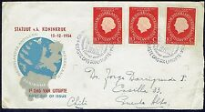 1000 NETHERLANDS TO CHILE CIRCULATED FDC COVER 1954