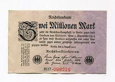 Old Germany 2 Million Mark Reichsbank Note German Inflation Money date 1923