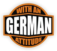 German With An Attitude Hard Hat Decal / Helmet Sticker Label Germany Germanic