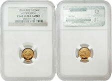 Laos 1999 Anticipation 2000 Kip 1/25 oz Gold NGC PF69 ULTRA CAMEO