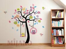 Wandtattoo Eulen auf Schaukel Wandsticker Wandaufkleber Kinderzimmer DEKO Baum