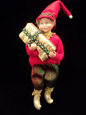 """Santa's Helper With Package"" Elf Ornament ~ New ~ CUTE"