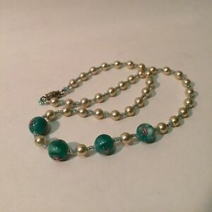 Handmade Pearl & Glass Roses Necklace
