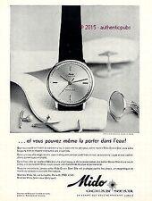 PUBLICITE MONTRE MIDO OCEAN STAR HABIT DE CEREMONIE ETANCHE DE 1961 FRENCH AD