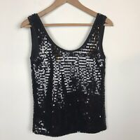 Mango MNG Suit Womens Top Size XXS Black Sequin Sleeveless Tank Cami Party