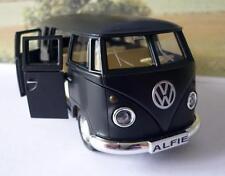 PERSONALISED PLATE Matt Black VW T1 CAMPER VAN BUS Boys Dad Toy Model Boxed