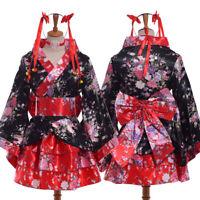 Women Japanese Anime Cosplay Costume Lolita Maid Kimono Dress Uniform Outfit