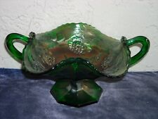 Fenton Carnival Glass Wreath of Roses Footed Bonbon  Green