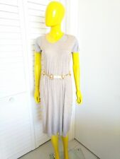 ALEXANDER McQUEEN Double Lined Nude Mesh Netting over Grey Dress Size 40 Italy