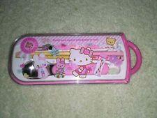 Genuine Hello Kitty Sanrio Children's Chopsticks Spoon Fork Set Made in Japan