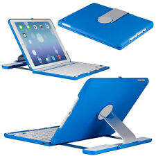 360 Swivel Rotating Shell Stand Case with Bluetooth Keyboard for Ipad Air 2 Blue