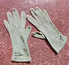 Vintage SAGE GREEN Ladies All Cotton Tailored Stitch GLOVES 1950-1960s MEDIUM