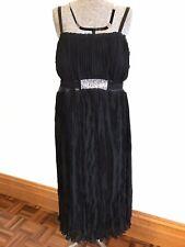 Dream Diva 16 black formal occasion strap chiffon dress pleat diamantes elegant