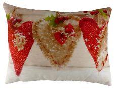 "Xmas Decoration - 17x13"" Woollen Love Hearts Christmas Cushion"