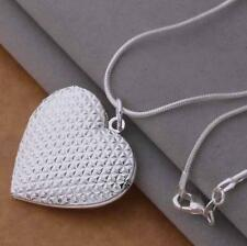 Stunning 925 Sterling Silver Classic Heart Pendant Charm Locket Necklace