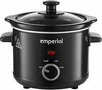 Emperial Slow Cooker 1.5L Removable Ceramic Pot Bowl Glass Lid Black
