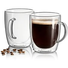 18 oz Mug Set of 2 Large Coffee Glass Double Wall Strong Clear TeaCup Beer Glass