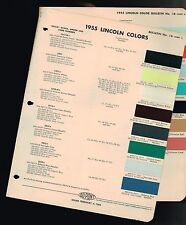1955 LINCOLN Color Chip Paint Sample Brochure / Chart: DuPont