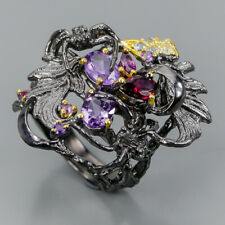 Jewelry silver set Natural Amethyst 925 Sterling Silver Ring Size 7.75/R98009