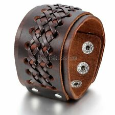 Men's Punk Braided Wide Leather Tribal Cuff Bangle Bracelet Adjustable Wristband