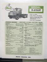 1967 Mack Truck Model R 615LST Specification Sheet