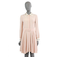 37795 auth PRADA pale pink silk EMBELLISHED Long Sleeve Cocktail Dress 42 M