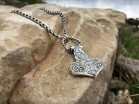 Solid Silver Sterling 925 THOR'S HAMMER MJOLNIR VIKING PENDANT with Chain 925