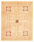 """Vintage Hand-knotted Carpet 8'1"""" x 10'0"""" Traditional Ivory Wool Area Rug"""