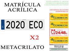 2 NUEVAS MATRICULA ACRILICA METACRILATO 52x11cm COCHE SIN LINEA RECUADRO NEGRA